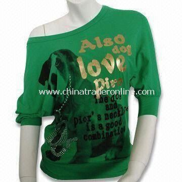 Womens Round Neck T-shirt with Batwing Sleeve, Pigment Print Dog with Piors Necklace on Front