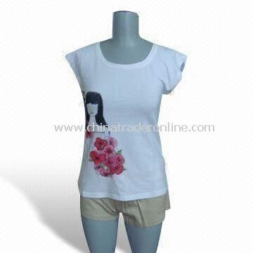 Womens T-shirt, Made of 95% Cotton and 5% Spandex, Available in Various Designs and Prints
