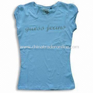Womens T-shirt, Various Water/Rubber Print on Chest, Fashionable Design