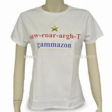 Womens T-shirt with Printing, Made of 100% Cotton, Available in Various Colors and Sizes from China