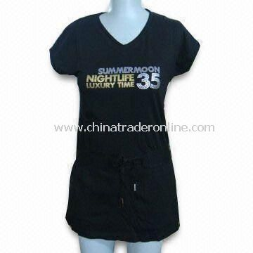 Womens T-shirt with Printing, Suitable for Girls, Made of 48% Modal/47% Cotton/5% Spandex