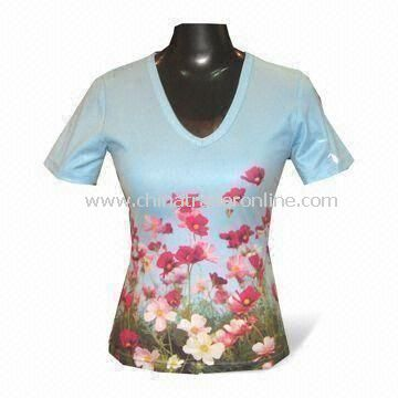 Womens T-shirt with Sublimation Printing, Made of Polyester and Spandex