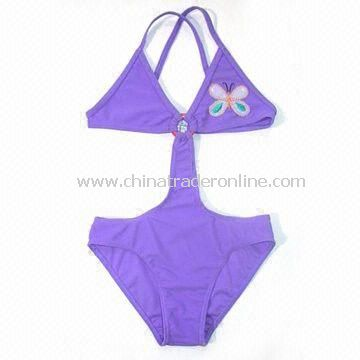 Childrens Swimsuit with Butterfly Motifs