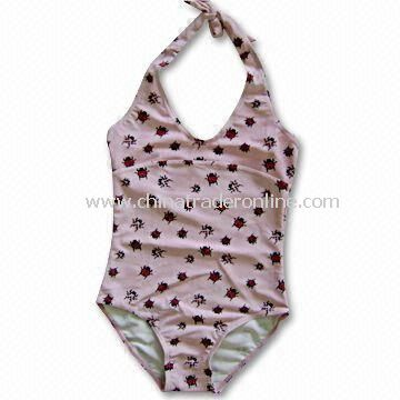 Childrens Swimsuit with Ladybug Print and Highly Elastic