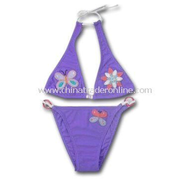 Childrens Swimwear with Appliques Embroidery, Made of 80% Polyamide and 20% Elastane from China