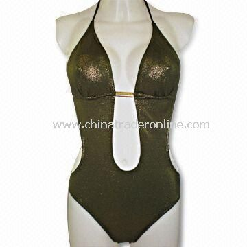 Highly Elastic Ladies Swimsuit with Metal Bead at Chest, Customized Sizes are Welcome from China