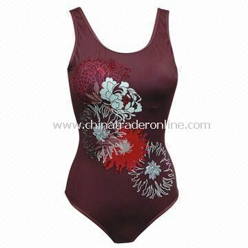 Highly Elastic Ladies Swimsuit with Printing and Embroidery, Made of Polyamide, Elastane