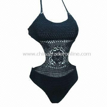 Ladies Swimsuit with Crochet Hook, Made of 80% Polyamide and 20% Elastane