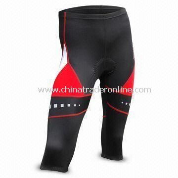 Mens Cycling Long Pants with 3D Chamois and Reflective Logo Print