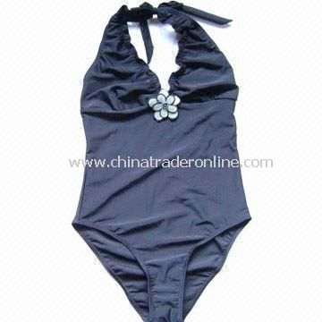Womens Swimsuit with Applique Flower, Made of 80% Polyamide and 20% Elastane from China
