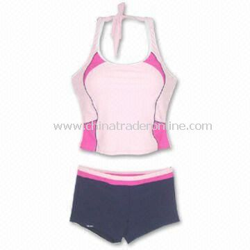 Womens two-piece Sports Swimwear, Made of 82% Nylon and 18% Spandex from China