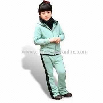 Childrens Sweatsuit, Customized Designs are Welcome, with Hood and Front Placket Zipper