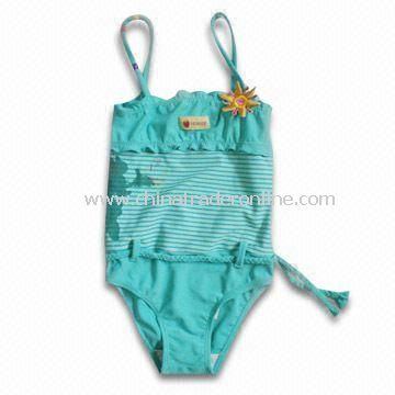 Childrens Swimwear with Embroidery at Chest and Belt with Waist
