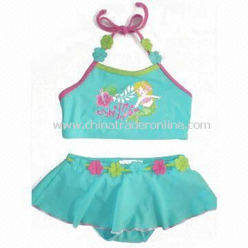 Childrens Swimwear with Small Flower Print, Customized Colors are Accepted from China