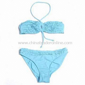Comfortable Childrens Swimwear with Gathering Frill on Top and Panty