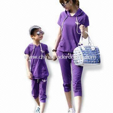 Jogging Suits with Short Sleeve, Made of 100% Cotton, Suitable for Girls