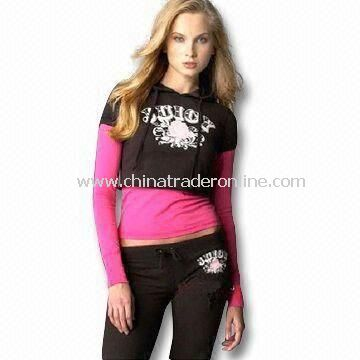 Ladies Jogging Suit, Made of 240g Cotton and Elastane Terry Fleece, Waist Positional Water Print