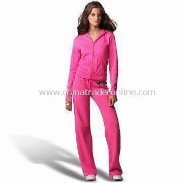 Ladies Jogging Suit with Hood, Kangaroo Pockets and Front Placket Zipper