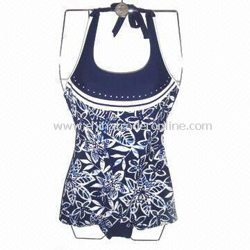 One-piece Blue and White Swimwear with Flower Printing, Made of 82% Nylon and 18% Spandex