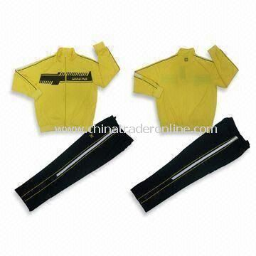 Polyester Ladies Jogging Suit with Embroidery on Chest and Pant, Customized Logos are Accepted