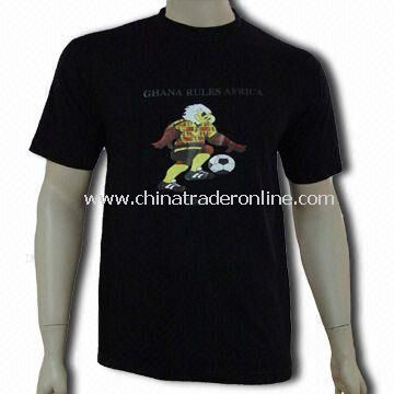 100% Cotton Mens Knitted T-shirt, Customized Designs and Logos are Accepted