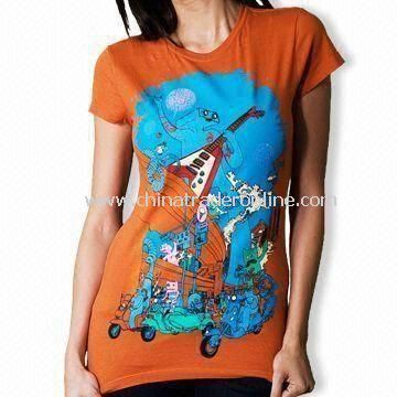 100% Cotton Womens Knitted T-shirt with Printing or Embroidery Logo, Fashionable Fit
