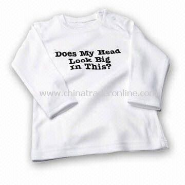 Baby Cotton T-shirt with Long Sleeves and Snap Closure, Available in Different Colors from China