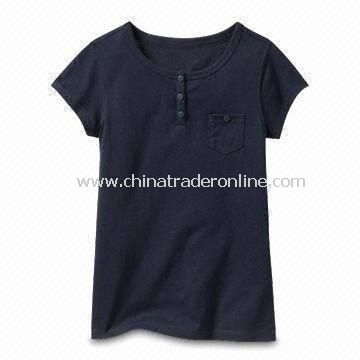 Black Childrens Cotton T-shirt, Customized Designs, Logos, and Fabrics are Accepted