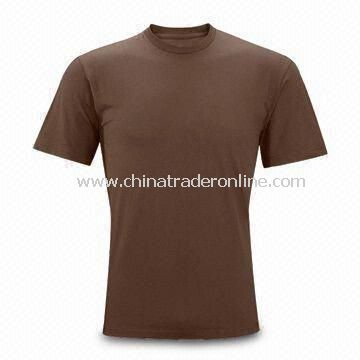 Brown Mens T-shirt, Made of 100% Cotton, Customized Sizes are Welcome