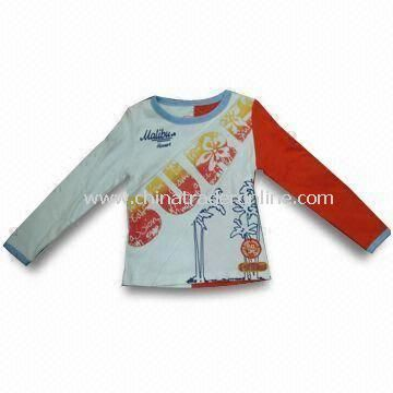 Childrens 100% Cotton T-shirt in Various Colors, Customized Requirements are Accepted from China