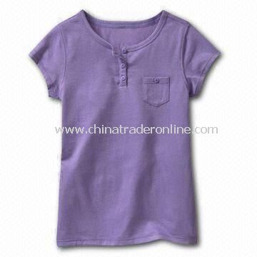 Childrens Cotton T-shirt in Violet, Customized Logos, Fabrics, and Designs are Accepted