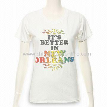 Cotton Womens T-shirt, Sized S, M, L, and XL, Various Colors Available