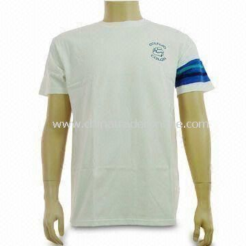 Mens Cotton T-shirt, Customized Designs and Logos are Welcome, with Piping Sleeves