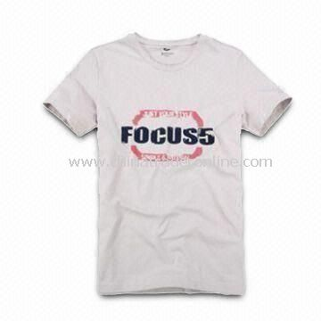 Mens Knitted T-shirt, Made of 100% Cotton, Customized Designs and Logos are Accepted