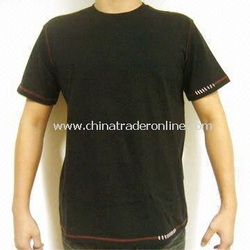 Mens Knitted T-shirt, Made of 100% Cotton with Applique, Customized Design is Accepted