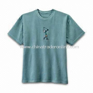 Mens T-shirt with Round Neck, Various Kinds of Fabrics Available