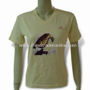Promotional Cotton T-shirt for Women, Customized Logos are Accepted from China
