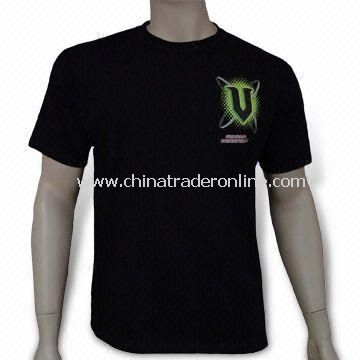Promotional Mens T-shirt, Made of 100% Cotton, Customized Logos are Welcome