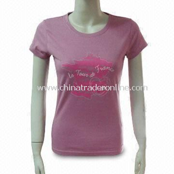 Womens 100% Cotton T-shirt, Different Sizes and Colors are Available from China