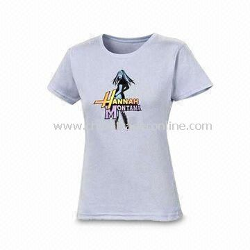Womens Knitted T-shirt, Made of 100% Cotton, Customized Designs and Logos Acceptable