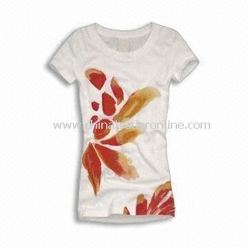 Womens T-shirt, Made of Cotton and Available in Various Colors