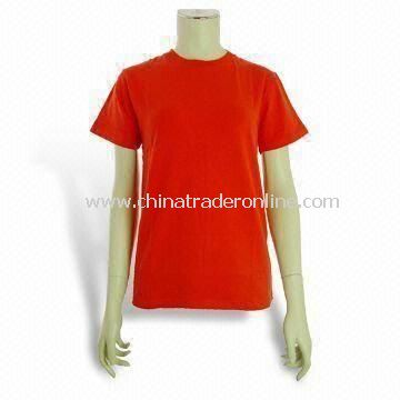 Womens T-shirt with Printing, Made of 100% Cotton, Customized Brands and Designs Available