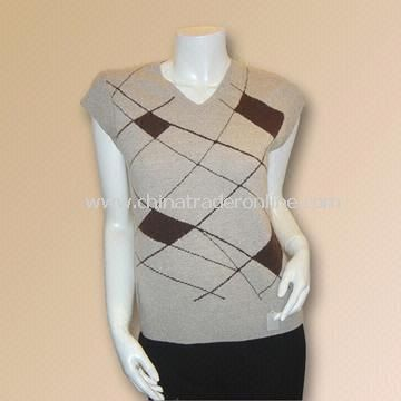 Ladies Pure Cashmere Computer-designed Intarsia Sweater with Weight of 180g