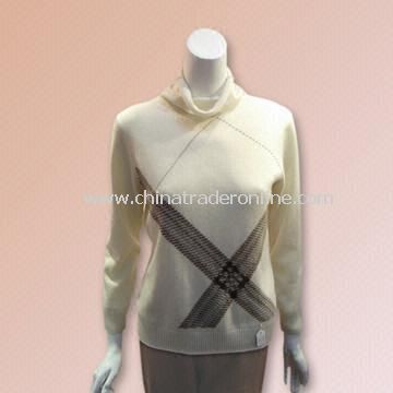 Ladies Pure Cashmere Computer-designed Intarsia Sweater with Weight of 230g