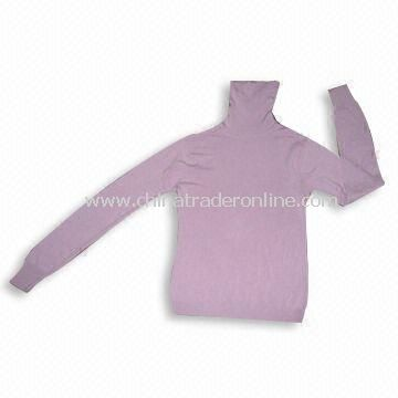 Ladies Knitted Sweater, High Collar, Made of 100% Soft Acrylic/Cashmere Like