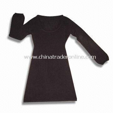 Ladies Knitted Sweater in Long Length Style, Made of 100% Soft Acrylic/Cashmere