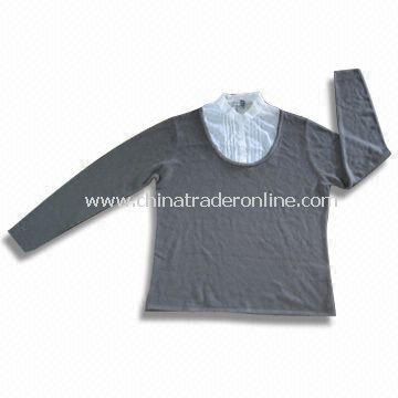 Ladies Knitted Sweater with Woven Collar, Made of 100% Soft Acrylic/Cashmere from China