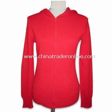 Ladies Pure Cashmere Zip Up Hoodie with 12GG Gauge, Weighs 240g