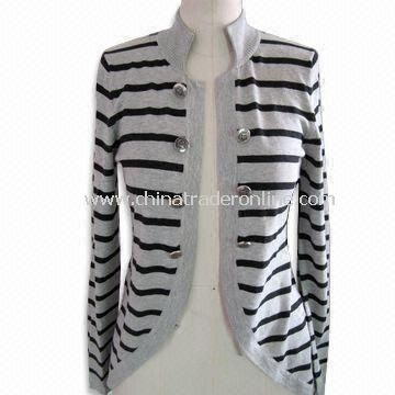 Long Sleeves Womens Cardigan, Made of 70% Silk, 15% Cotton and 15% Cashmere