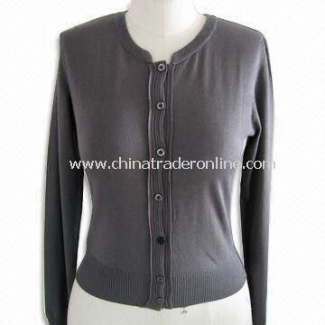 Long Sleeves Womens Cardigan, Made of 70% Silk, 5% Cotton and 15% Cashmere